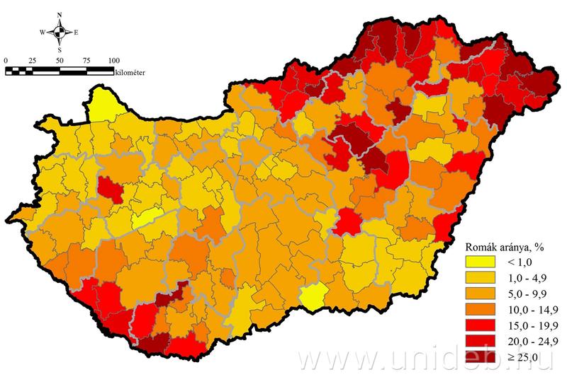 A roma lakosság aránya a járásokban a DE felmérés adatai alapján (2010-13)